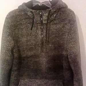 Sherpa Zipper Front Hoodie size M Fully Lined